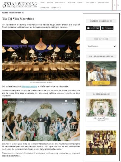 5 star wedding directory about Taj Villa Marrakech